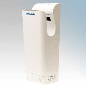 Vent-Axia 409118 JetDry Plus White Polycarbonate Double Sided High Speed Blade Type Hand Dryer IPX4 0.9kW - 1.3kW