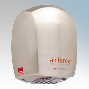 Warner Howard BC0327 Airforce Brushed Chrome Die-Cast Aluminium Low Energy Automatic Hand Dryer With Antimicrobial Coating IP24
