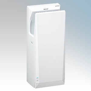Mitsubishi JT-SB216JSH2-W-NE Jet Towel Slim White ABS Plastic Automatic Low Energy Blade Type Hand Dryer With Adjustable Heat Co