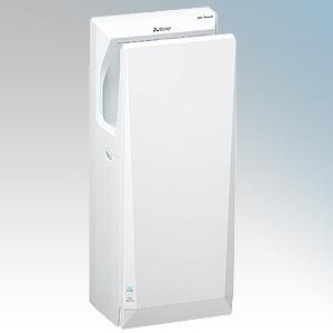 Mitsubishi JT-SB216KSN2-W-NE Jet Towel Slim White ABS Plastic Automatic Low Energy Blade Type Hand Dryer IPX4 550W - 720W