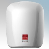 Warner Howard 091183 EL600 White ABS Plastic Low Energy Slimline Automatic Hand Dryer With Antimicrobial Coating IP22 0.6kW