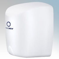 BlueDry BD1015W BD1015 White Stainless Steel Automatic Low Energy High Speed Hand Dryer With Adjustable Heat Control IPX1 0.55kW - 1.35kW