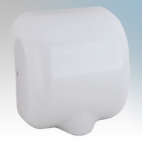 Stream Hygiene 4601 Windsor White Steel Automatic Low Energy Vandal Resistant Hand Dryer With Adjustable Heat Control IPX1 550W - 1400W